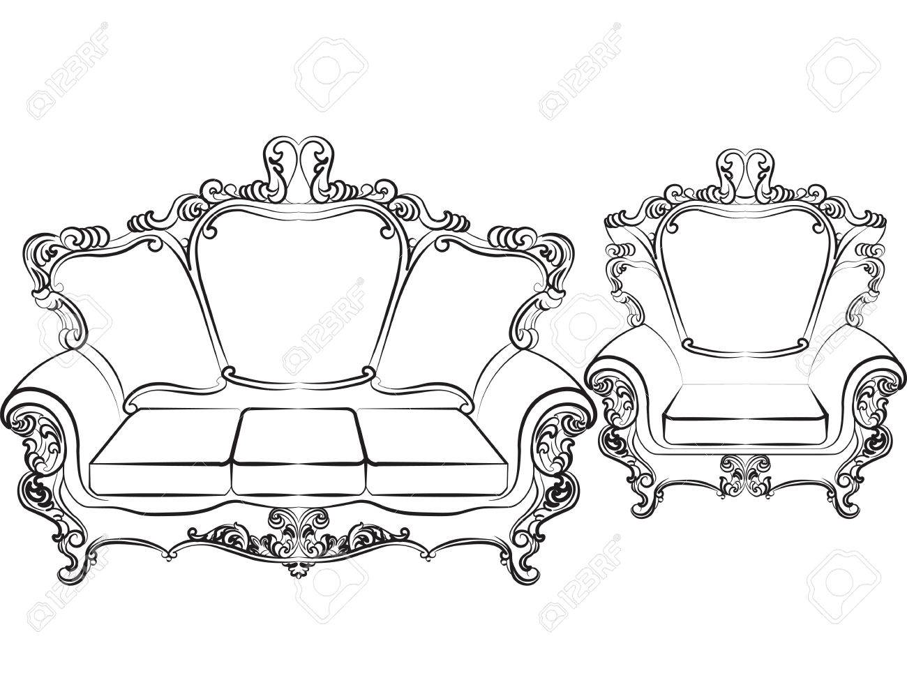 Royal Sofa And Armchair Set In Baroque Style With Damask Luxurious  Ornaments. Vector Stock Vector