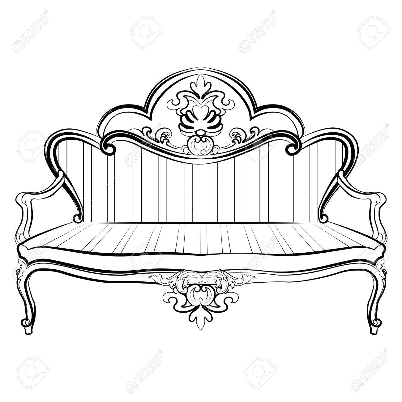 Rococo furniture sketch - Royal Sofa In Rococo Style With Damask Luxurious Ornaments Vector Stock Vector 58507759