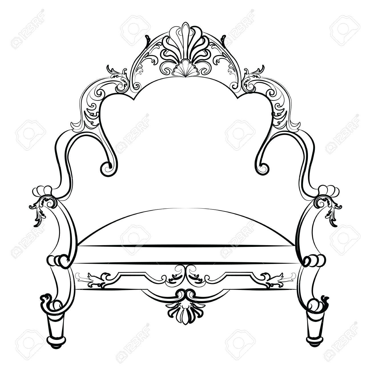 Royal Imperial Armchair In Rococo Style With Damask Luxurious Ornaments.  Vector Stock Vector   58507761
