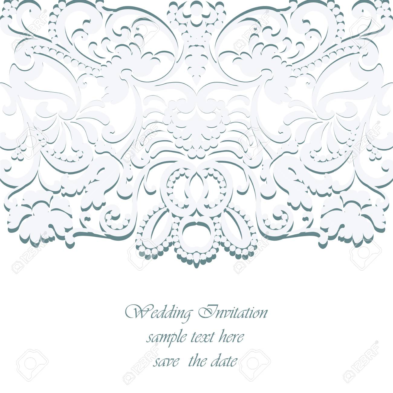 Vector vintage classic wedding invitation card imperial style floral ornament background for design wedding invitations greeting cards wallpaper serenity blue color stopboris Image collections