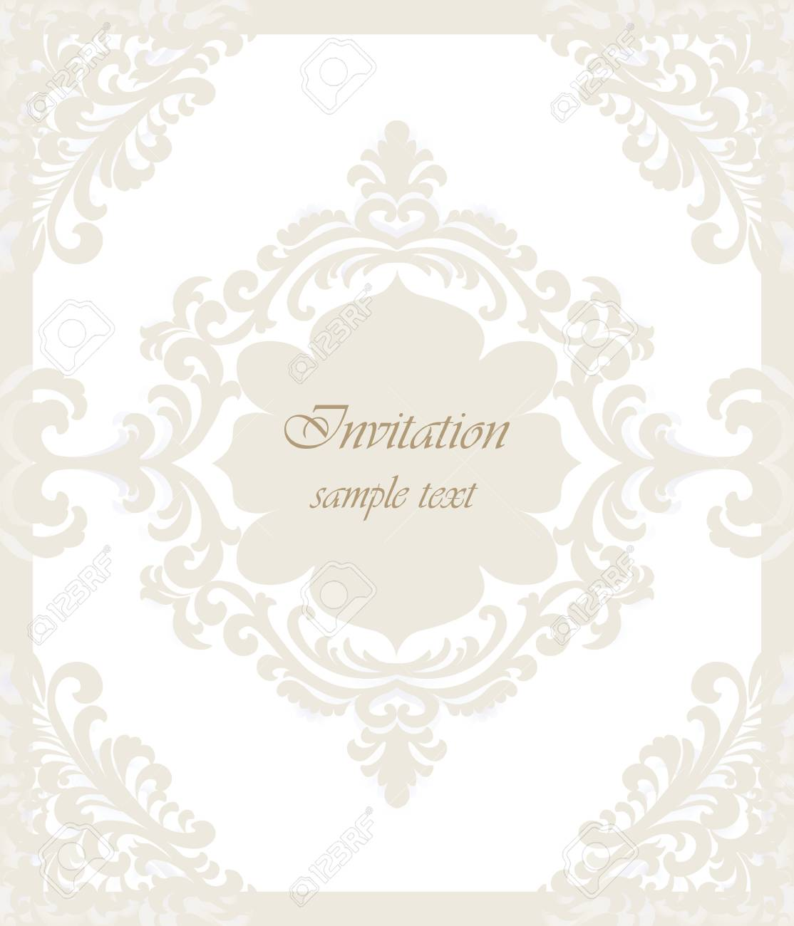 Vector Vintage Classic Wedding Invitation Card Imperial Style ...