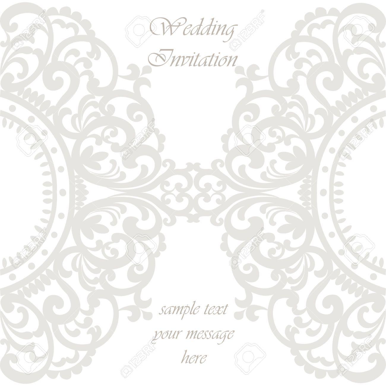 Wedding Invitation Card With Lace Ornament. Silver Gray Color ...