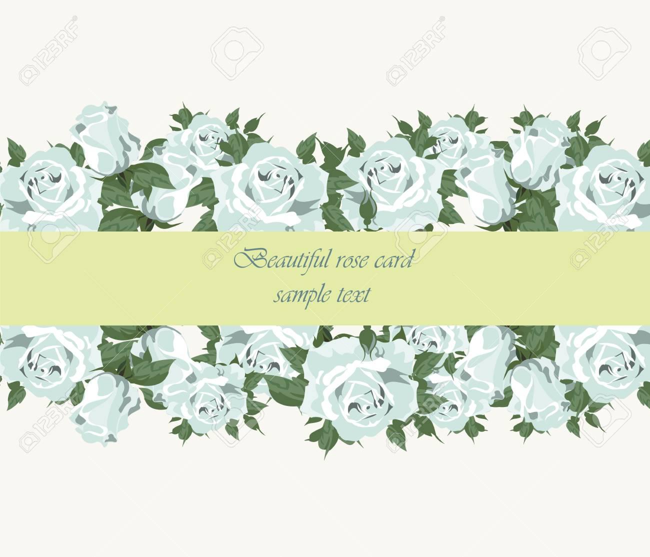 Blaue Rosen Vintage Einladung Punktiert Empfindliche Illustration