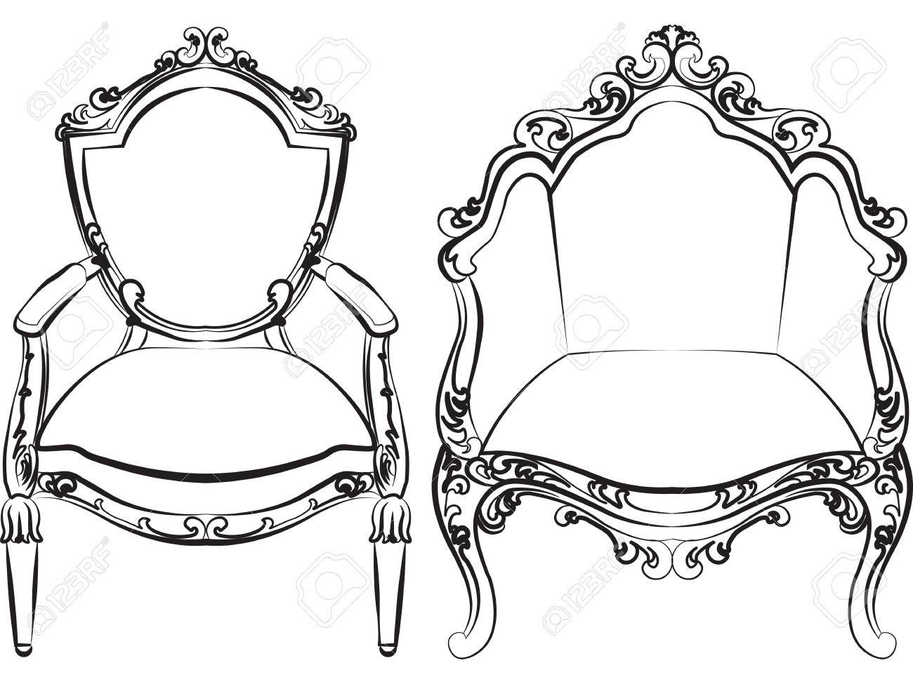 Elegant Armchair Set With Luxurious Rich Ornaments. Baroque Imperial Luxury  Style Furniture. Vector Stock