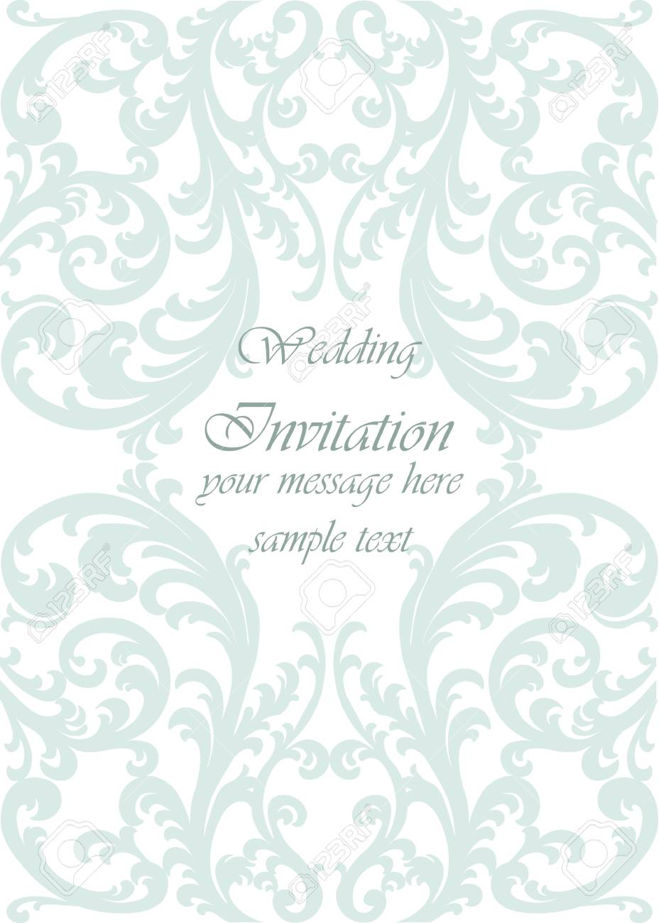 Wedding Invitation Card With Lace Ornament. Opal Green Color ...
