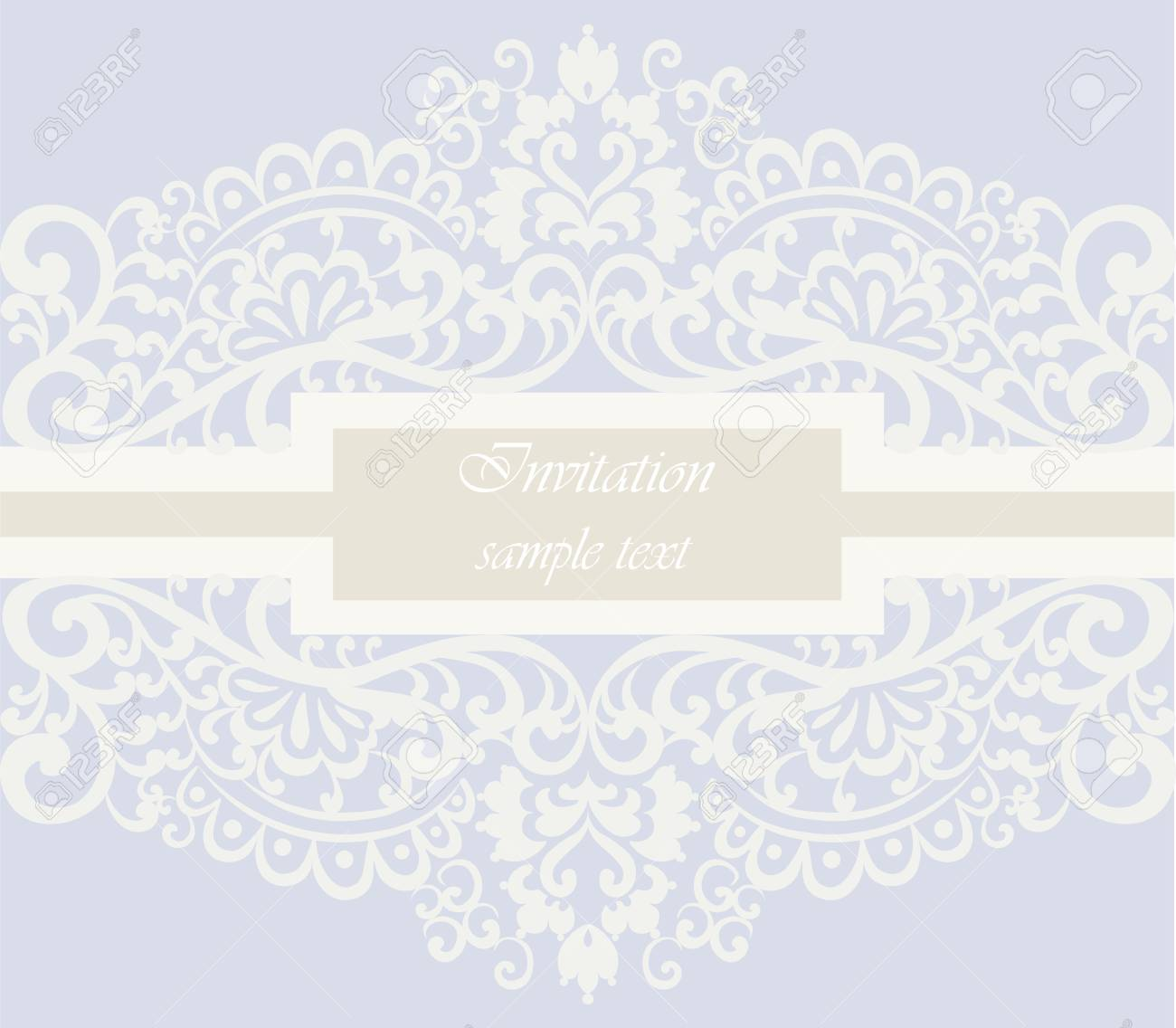 Wedding Invitation Card With Lace Ornament. Serenity Color. Vector ...