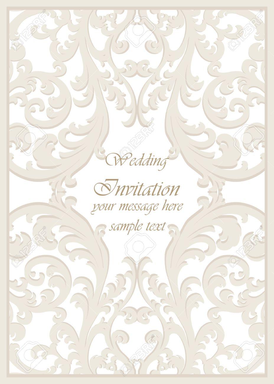 Tarjeta De Invitación De La Boda De La Vendimia Del Vector Clásico Estilo Imperial Fondo Del Ornamento Floral Para El Diseño Invitaciones De Boda