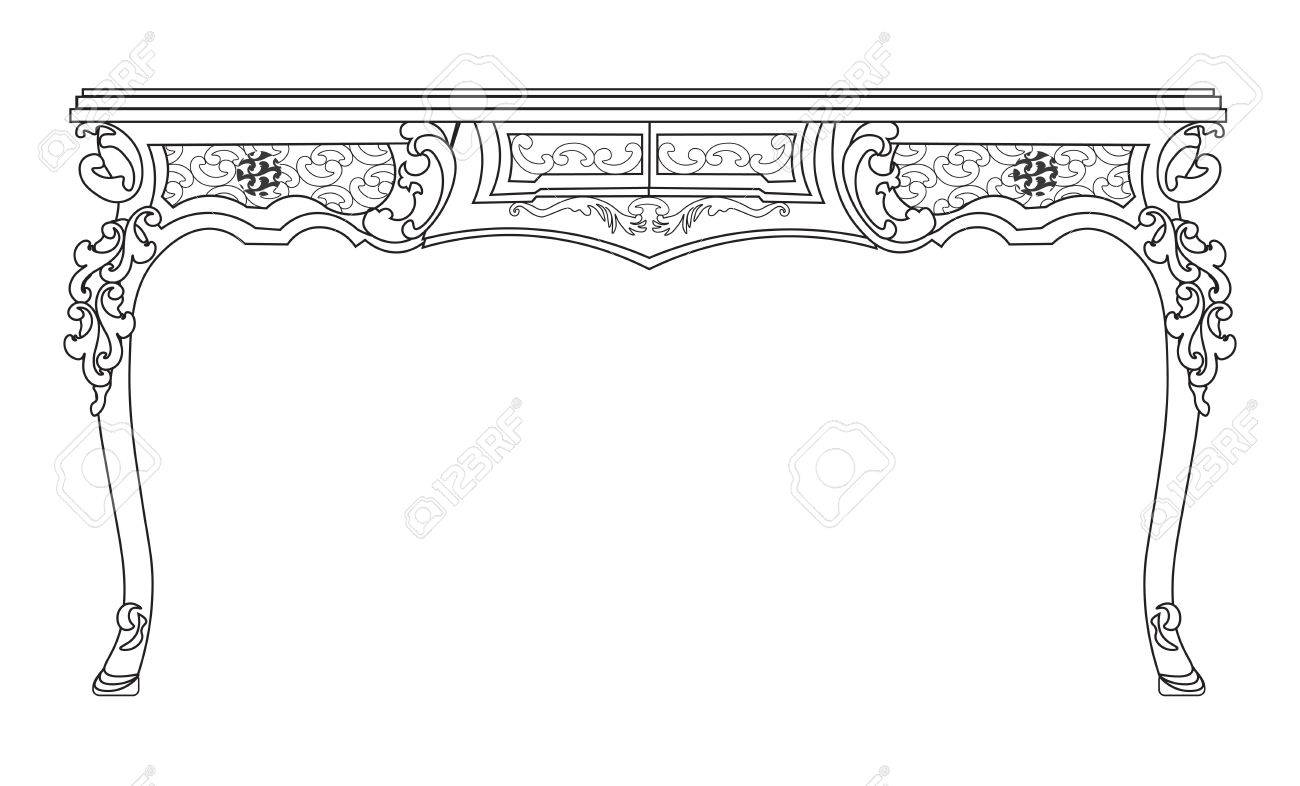 baroque style table with engraved ornaments vector sketch royalty