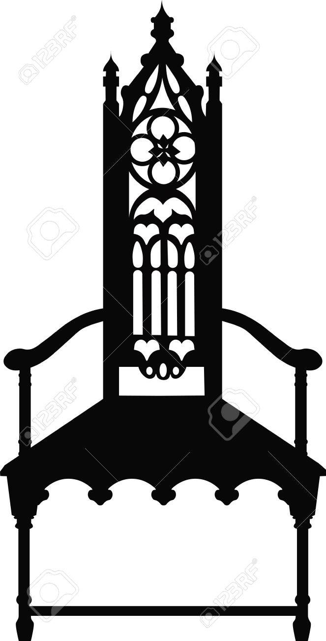 Gothic Style Chair With Ornaments. Vector Sketch Stock Vector   58927414