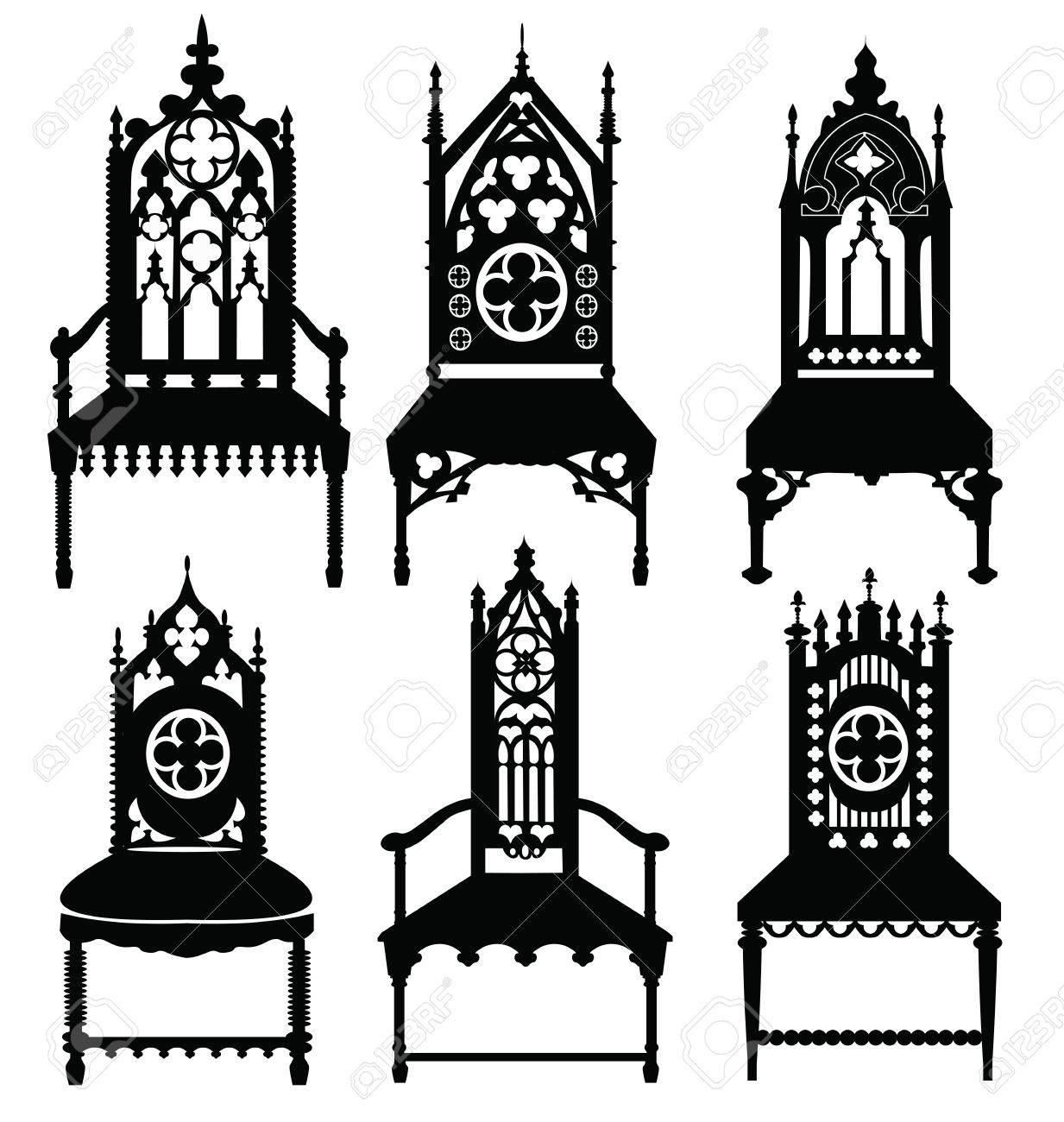 Merveilleux Gothic Style Chairs Set With Ornaments. Vector Sketch Stock Vector    58927427