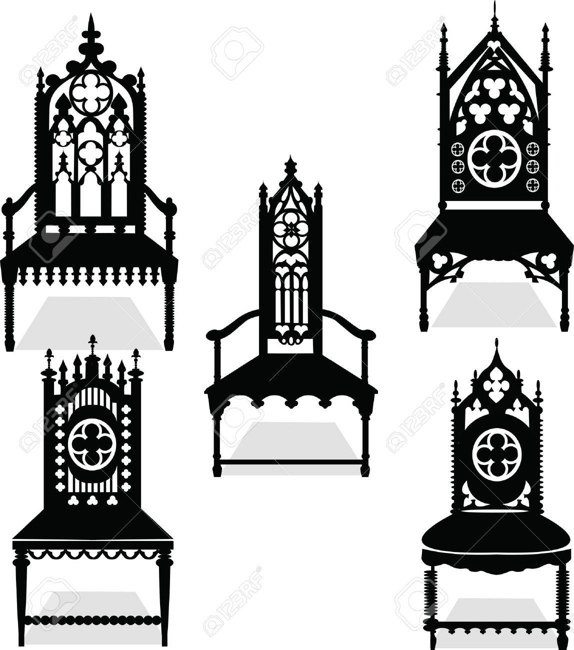 Superbe Gothic Style Chairs Set With Ornaments. Vector Sketch Stock Vector    58927494