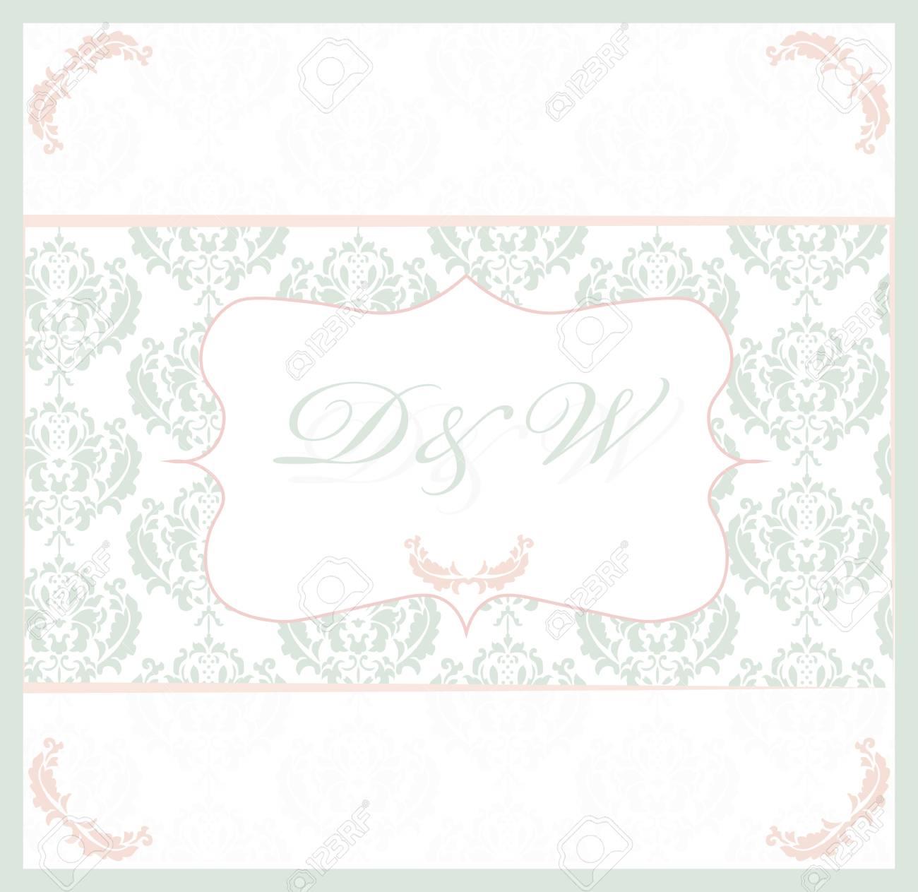 Tarjeta Vintage Con Patrón De Ornamento De Encaje De Damasco Tarjeta De Invitación Para Boda Ceremonia Aniversario Fiesta Color Azul Y Dorado