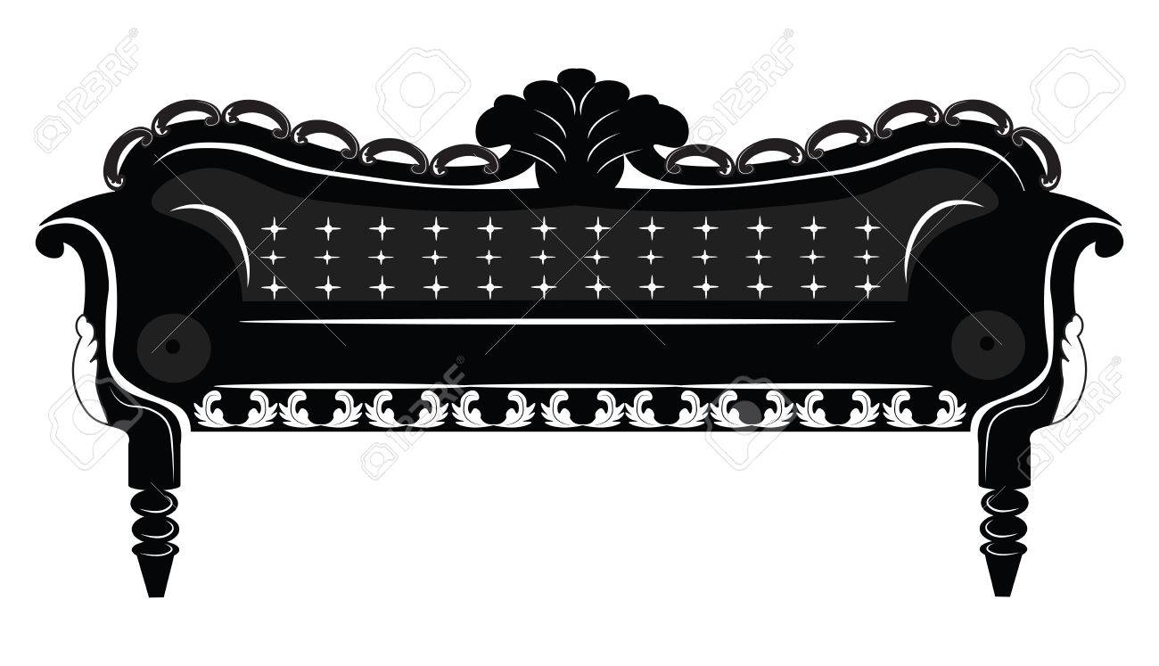 Vector   Vintage Baroque Sofa With Luxurious Ornaments. Elegant Rich Baroque  Style Furniture. Vector