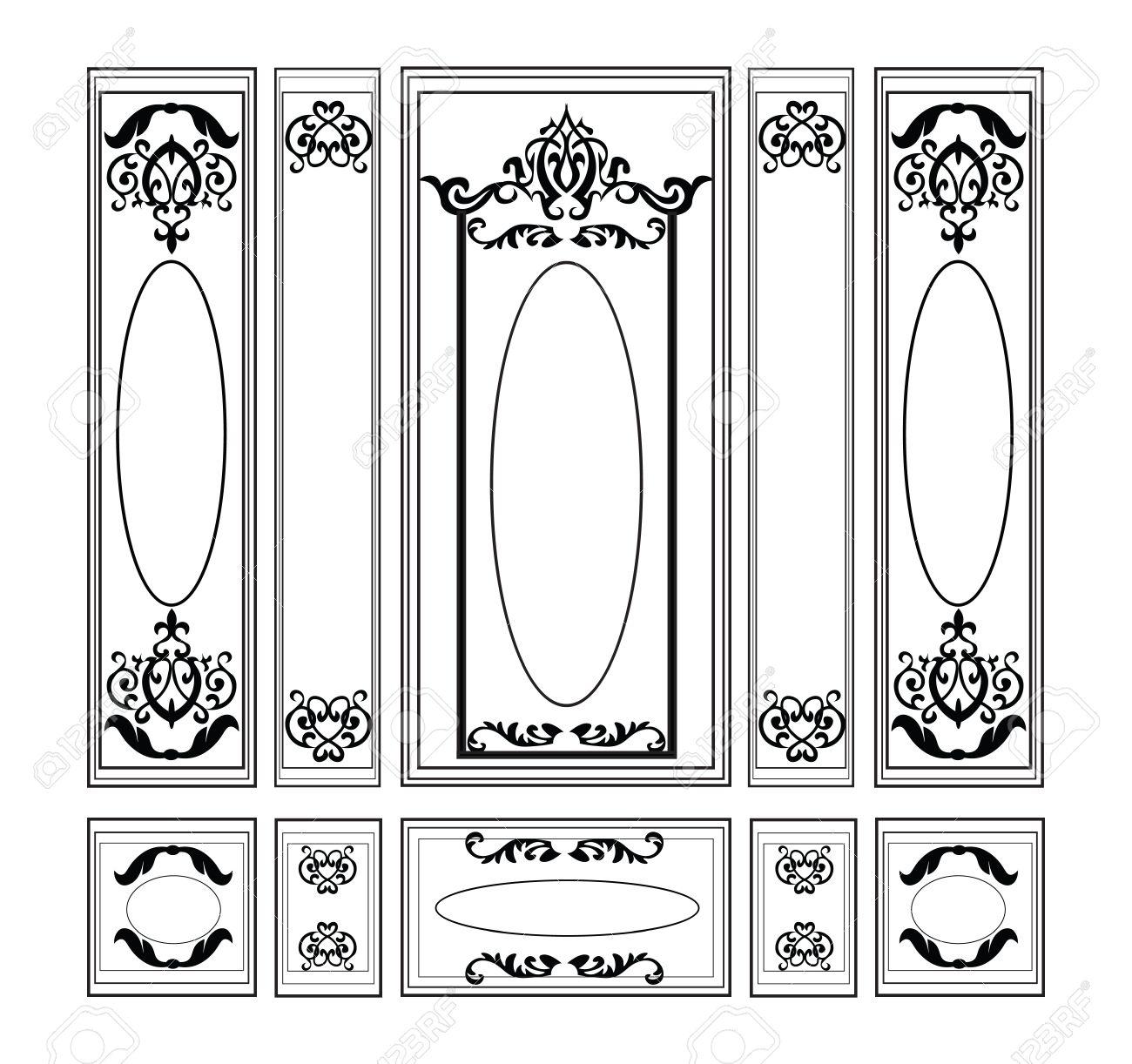 Vector Täfelung Dekorative Damast Verzierte Rahmen Für Wände Oder ...