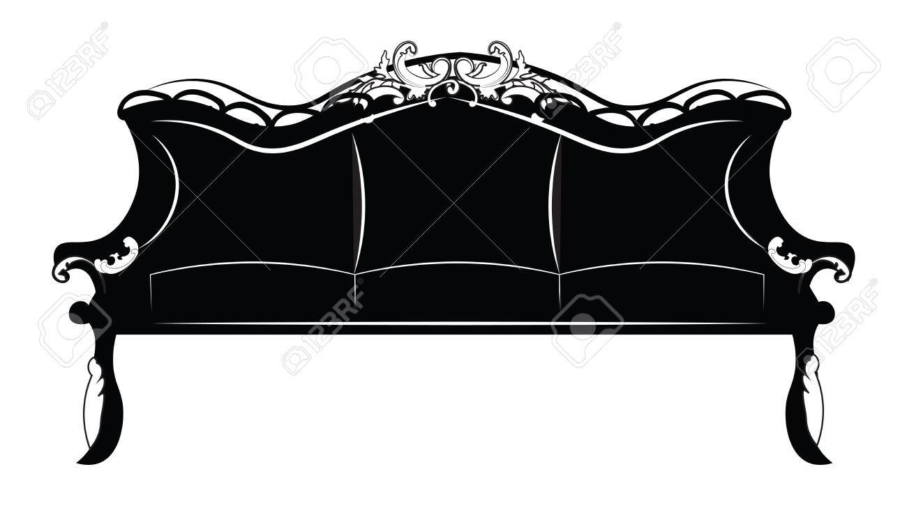 Royal Luxury Sofa Furniture With Baroque Ornaments Vector Sketch  # Meuble Royal Decorations
