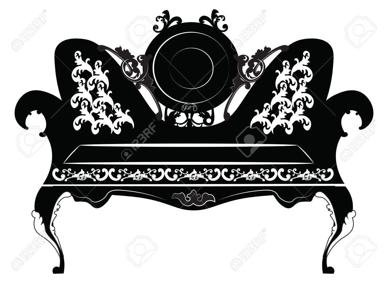 Standard Bild   Vektor Jahrgang Barock Sofa Möbel Runde Mit Luxuriösen  Schmuck Geformt. Vektor Skizze
