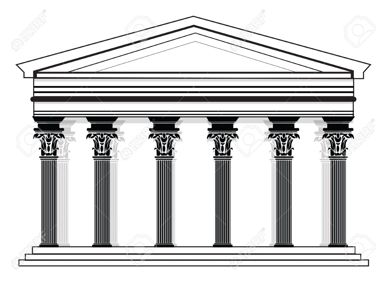 romangreek vector pantheon temple with corinthian columns high detailed architecture frontal view stock