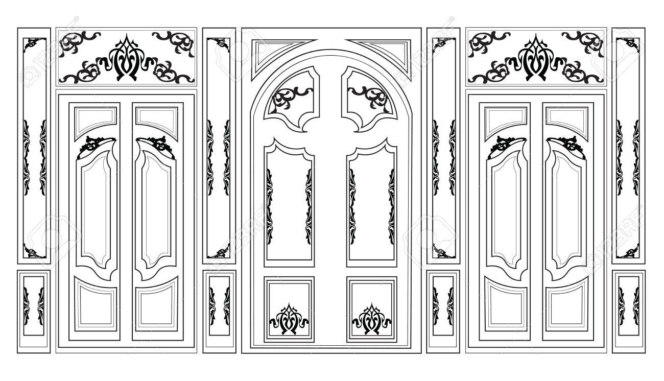 Vector wainscoting decorative damask ornamented frames for walls vector wainscoting decorative damask ornamented frames for walls or backgrounds interior design decoration panels jeuxipadfo Gallery
