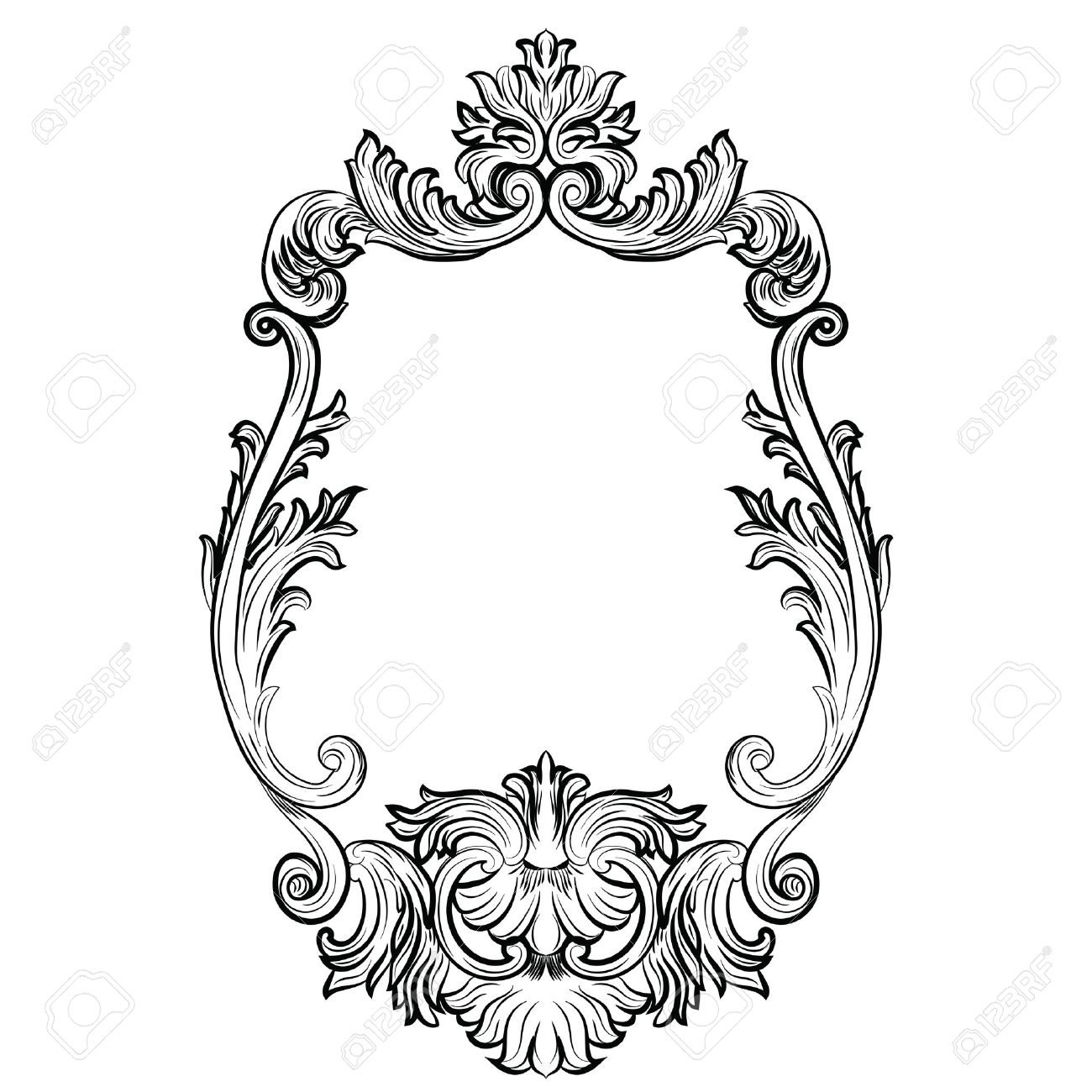 Baroque Rococo Mirror Frame Decor Vector French Luxury Rich Carved Ornaments And Wall Frames