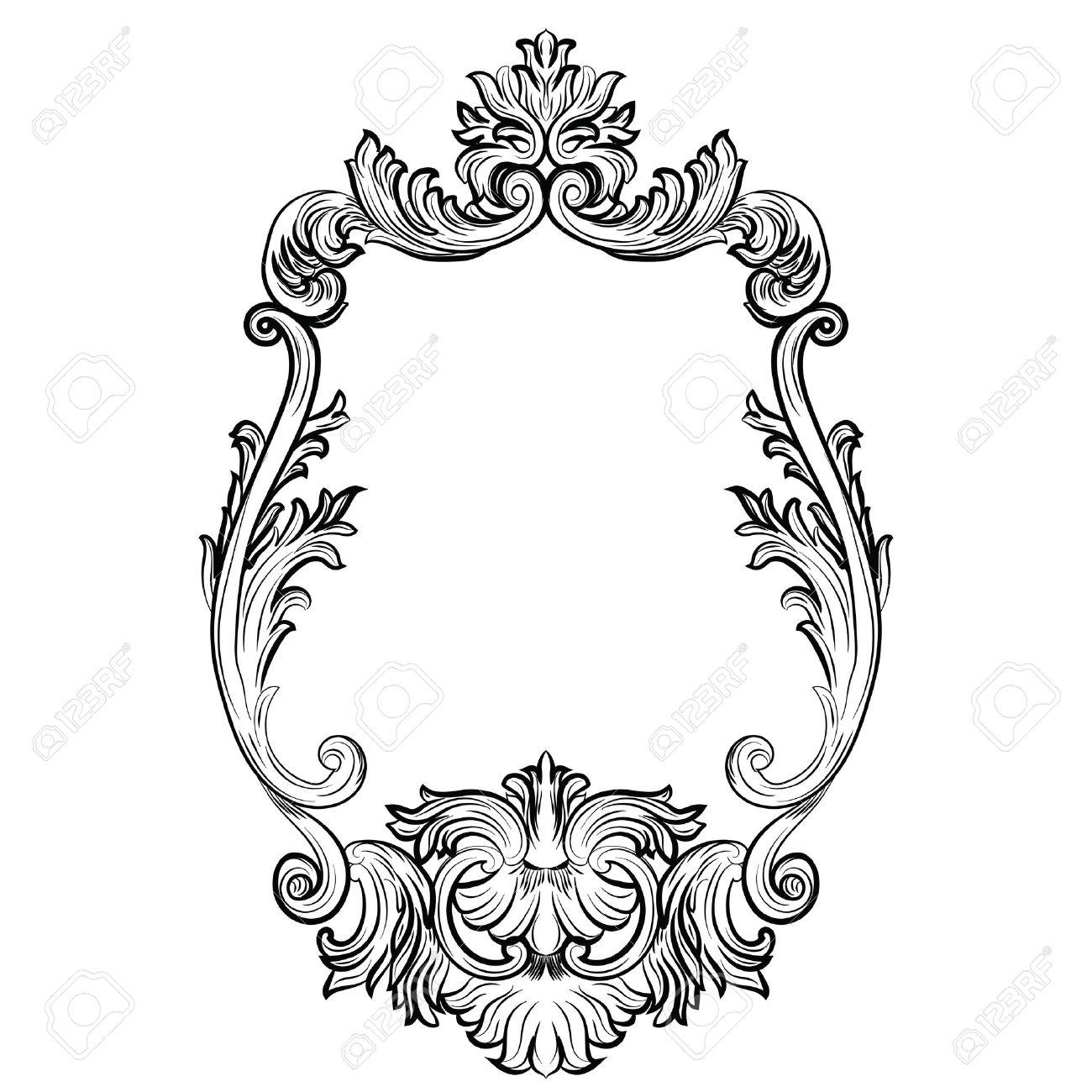 Encadrement Baroque cadre baroque rococo mirror décor. vector luxe français riches