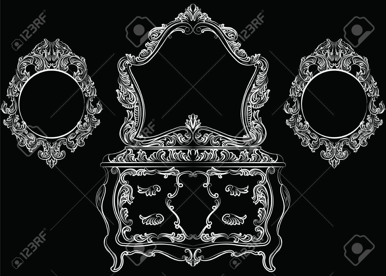Conjunto De Muebles Barroco Rico. Tocador Y Marco De Espejo. Rica De ...