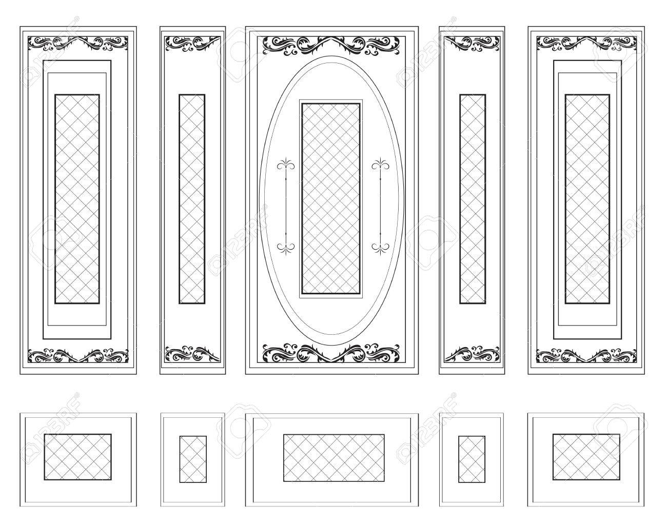Vector Wandrahmen Täfelung Dekorative Damast-Verzierte. Die Rahmen ...