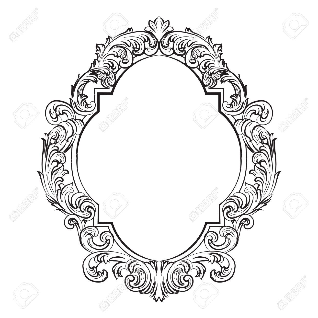 Glamoroso Marco Barroco Rococó Espejo. Vector De Lujo Francesa Ricos ...