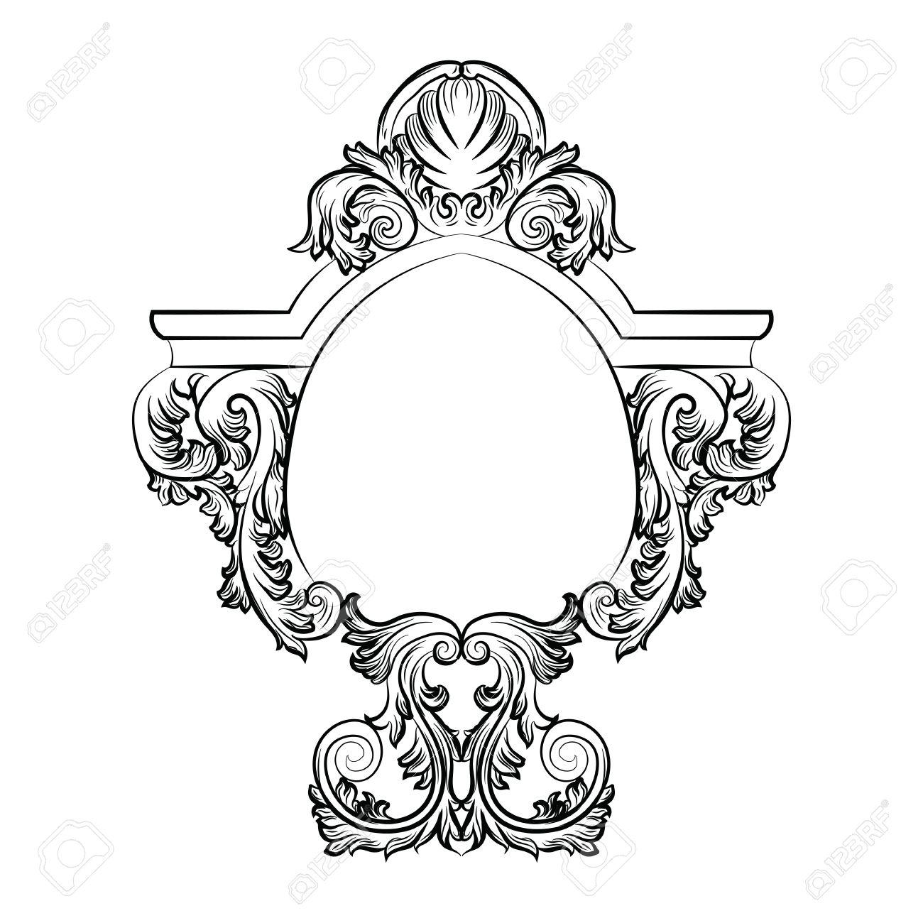 Encadrement Baroque cadre baroque rococo exquis miroir décor. vector luxe français