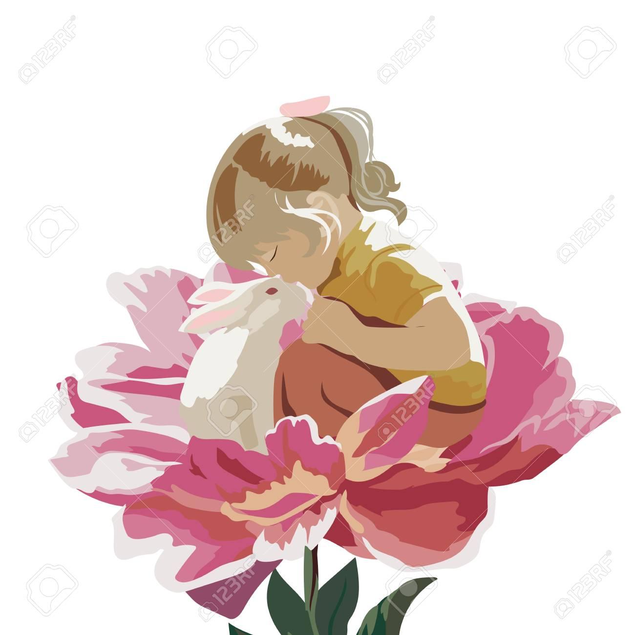 Petite Fille Jouant Avec Un Lapin Dans Un Pre D Une Fleur Vector