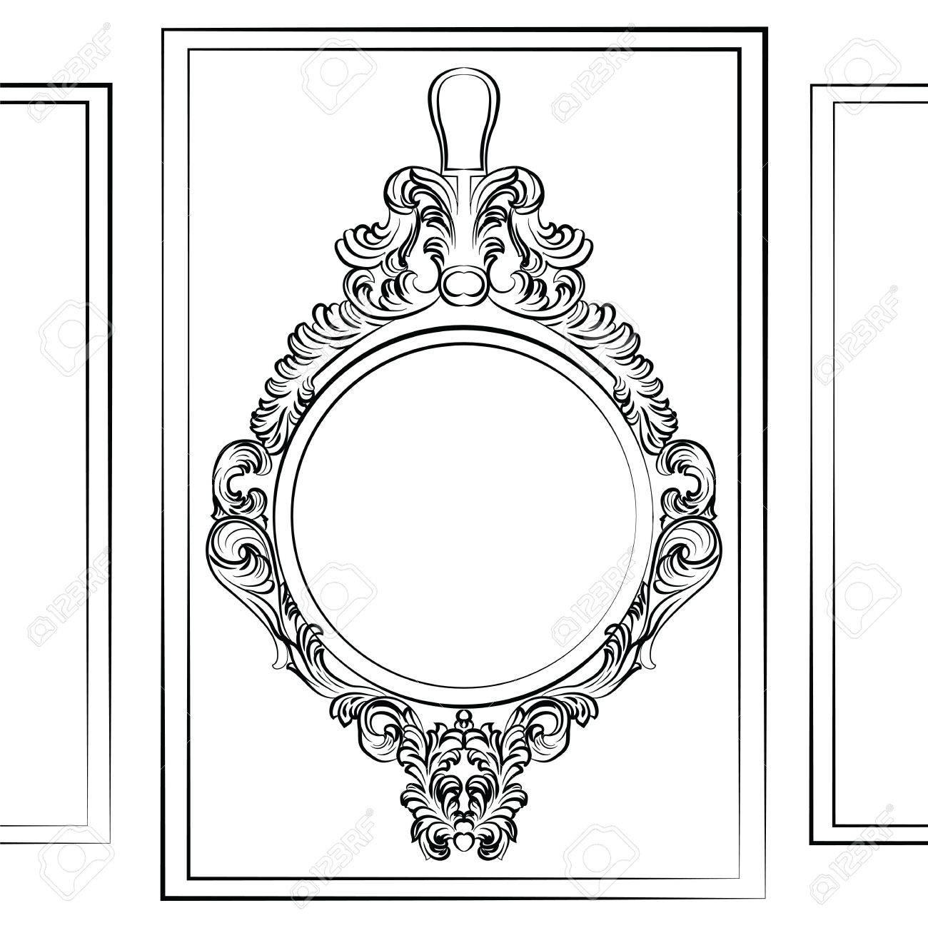 Set De Lujo Marco Barroco Rococó Espejo. Vector De Lujo Francesa ...