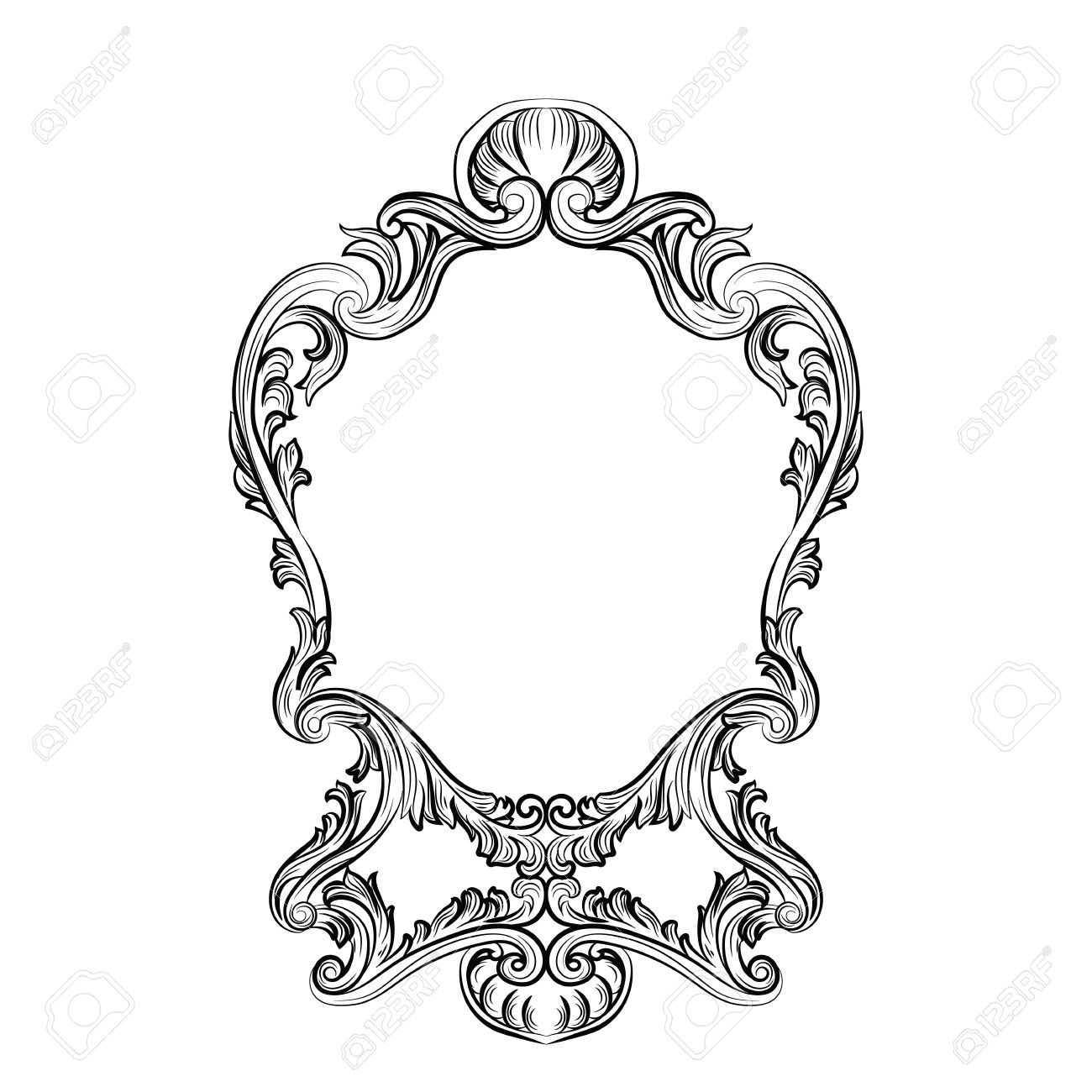 Rococo Mirror Frame Decor. Vector French Luxury Rich Carved ...