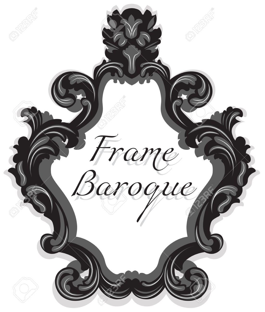 Establece El Marco Barroco Rococó Espejo. Vector De Lujo Francesa ...