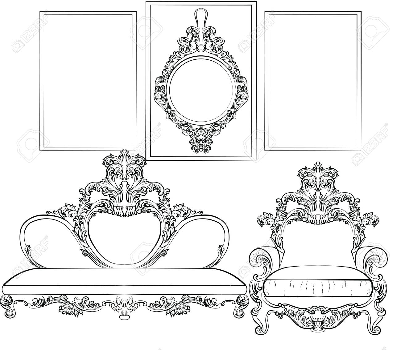 Royal sofa and frames set in baroque rococo style with damask royal sofa and frames set in baroque rococo style with damask luxurious ornaments vector stock jeuxipadfo Gallery