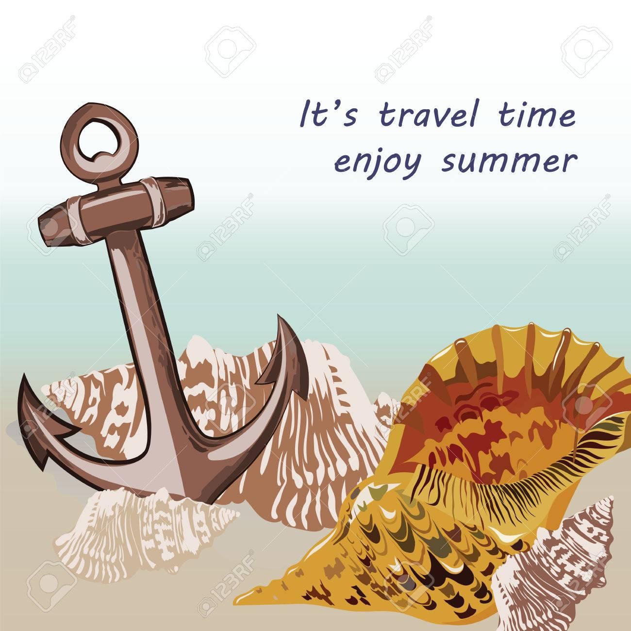 Vector Nautical Marine Theme Card Vintage Holiday Sea Shell