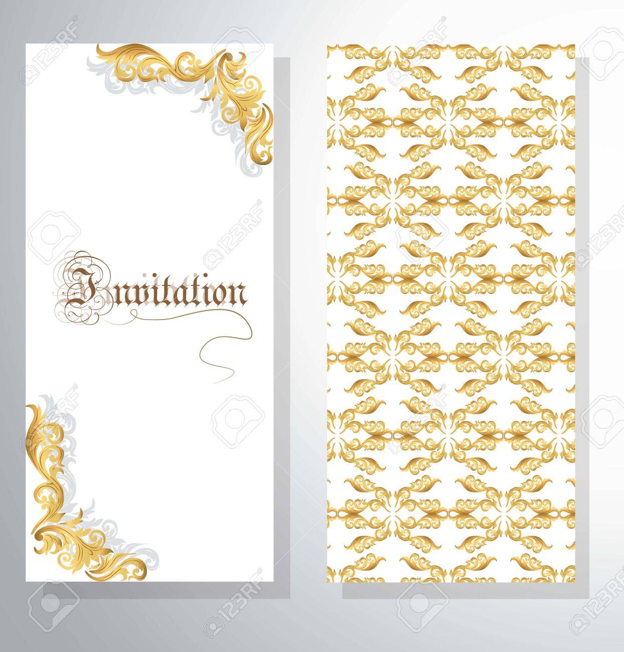 Invitation Card With Golden Ornament Pattern For Weddings Ceremonies