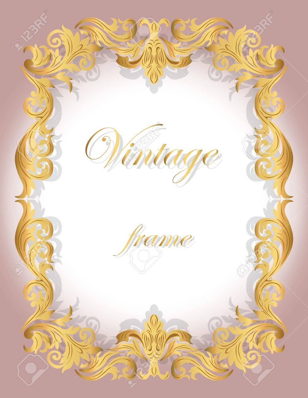Einladungskarte Mit Goldenen Zierrahmen Grenze Für Hochzeiten, Feiern,  Party, Dresscode, Zertifikate.