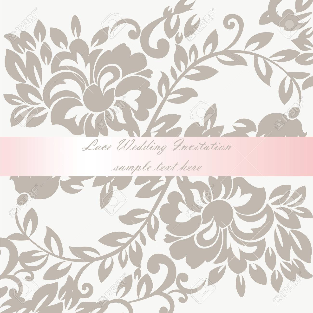 Vector Wedding Invitation Card With Lace Lily Flower Ornament ...