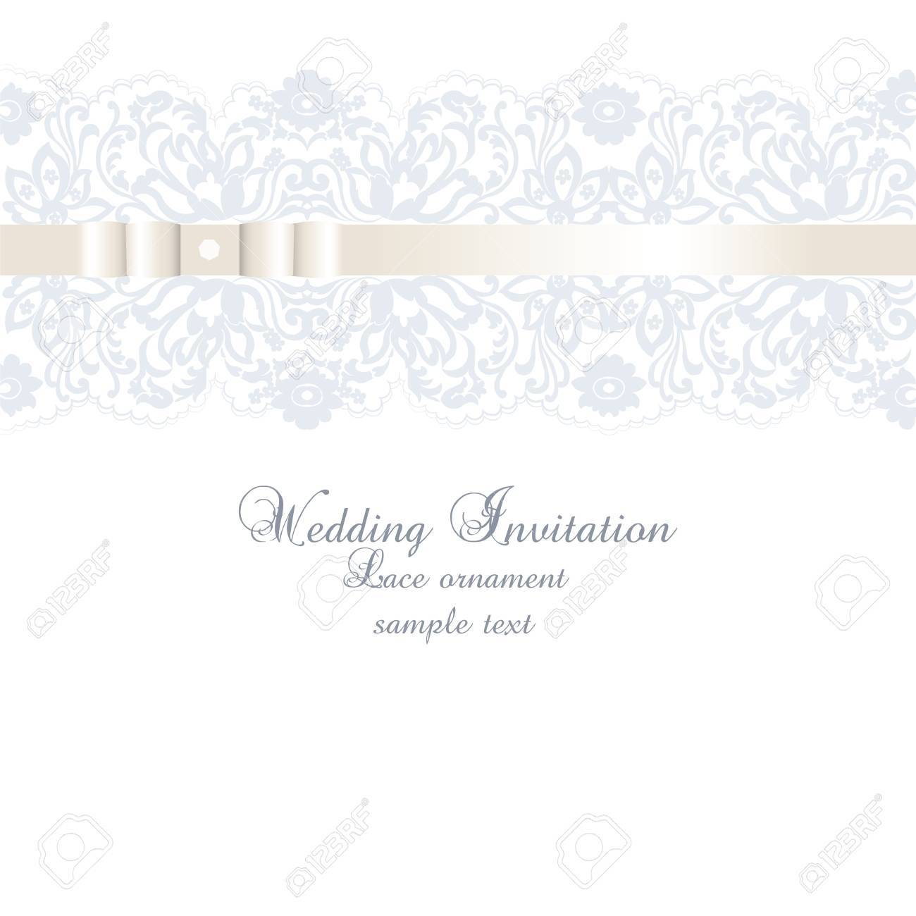Vector Wedding Invitation Card With Lace Floral Ornament. Delicate ...
