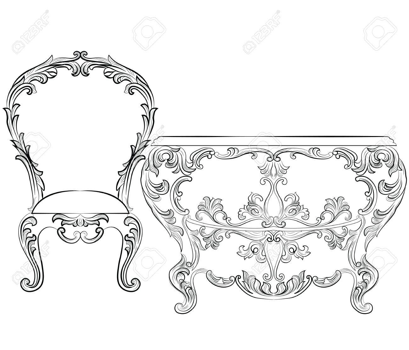 Fabulous Rich Rococo Furniture Set French Luxury Rich Carved