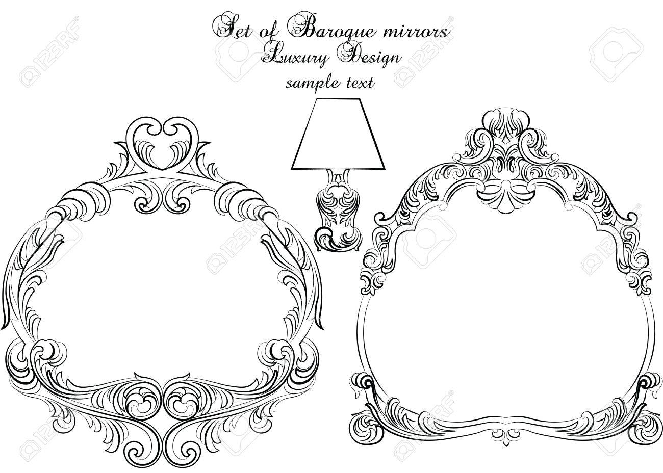 Vintage set of baroque royal vector frames elegant royal frame vintage set of baroque royal vector frames elegant royal frame for mirrors cards stopboris Image collections