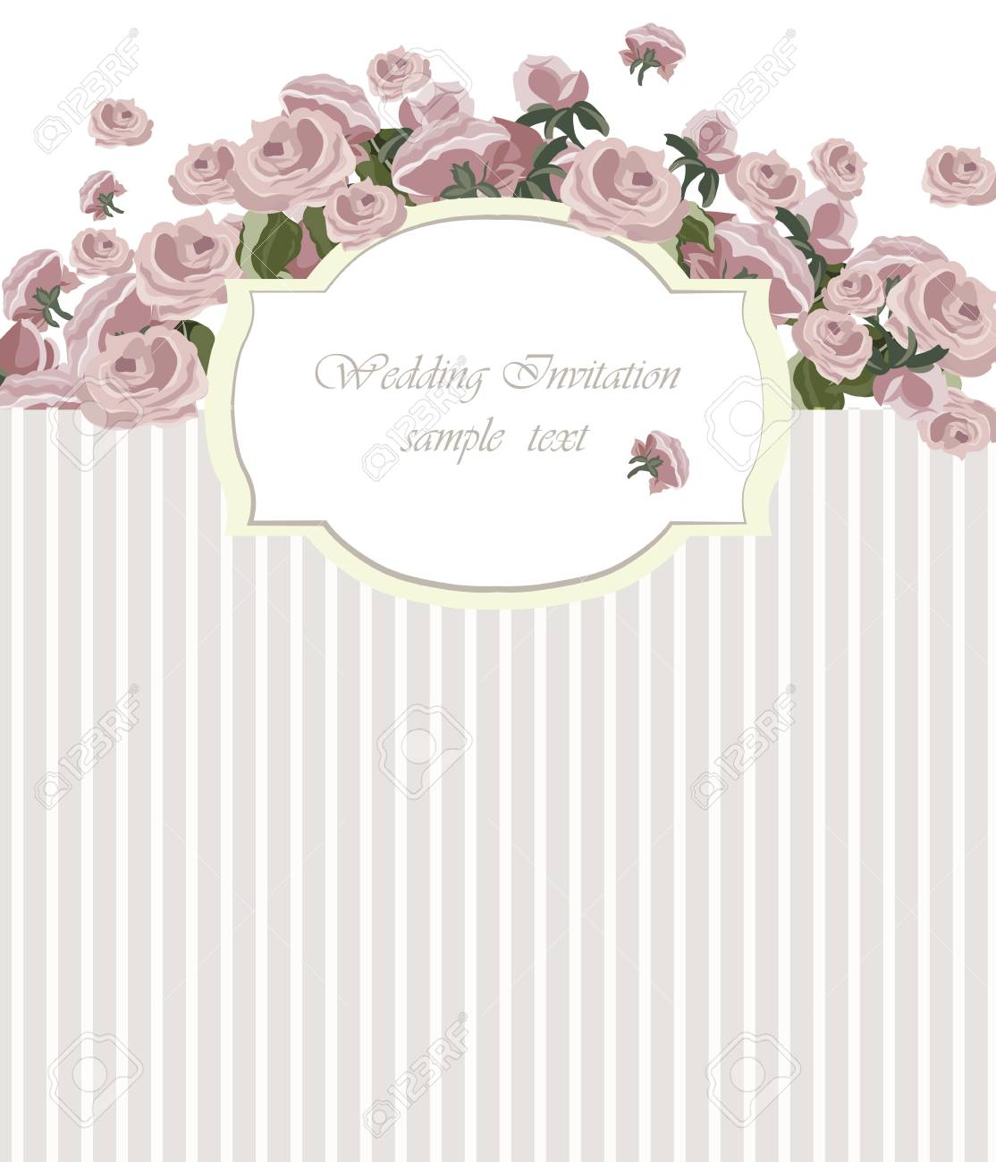 Vintage Invitation Card With Watercolor Flowers Background Spring