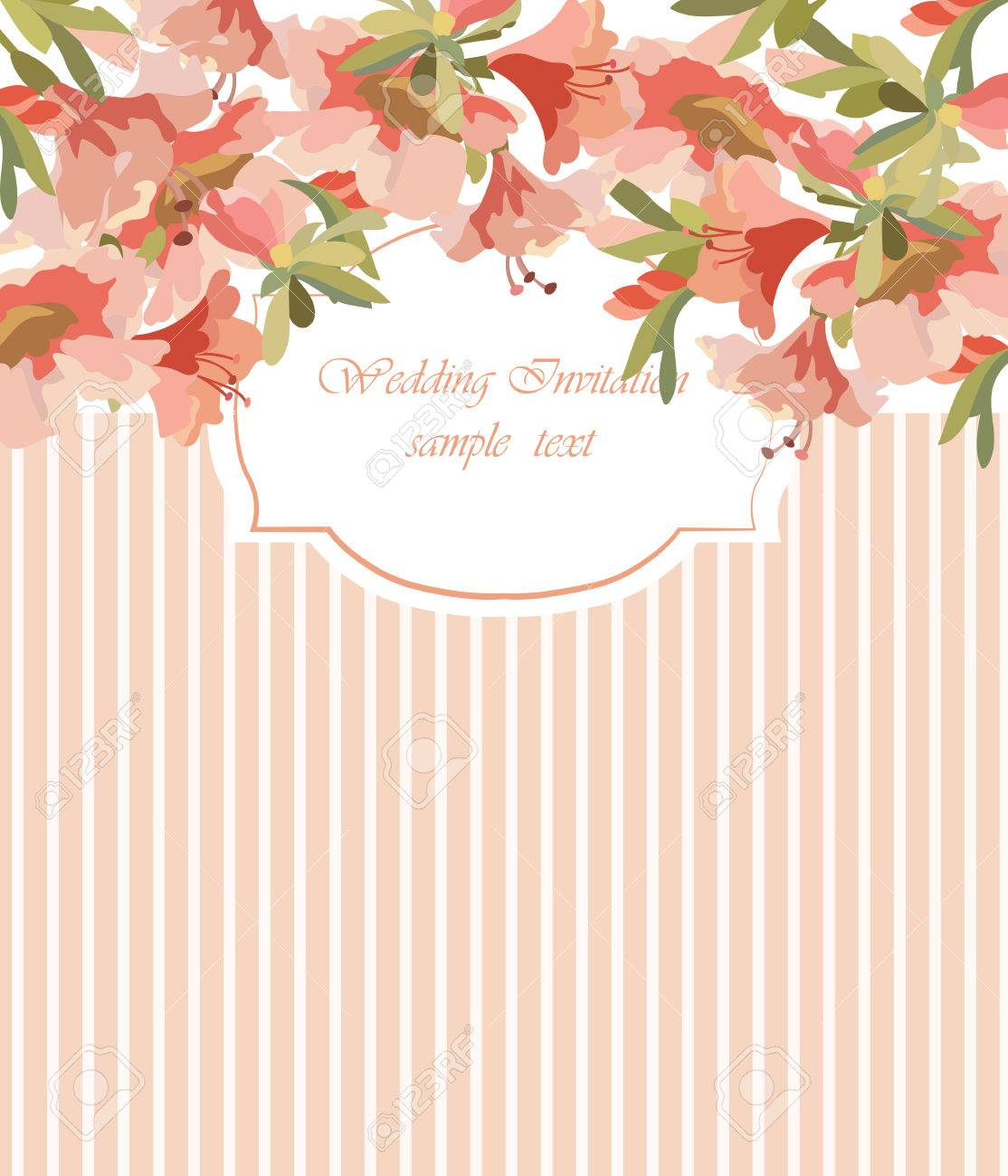 Vintage Vector Card With Watercolor Flower Frame Traditional