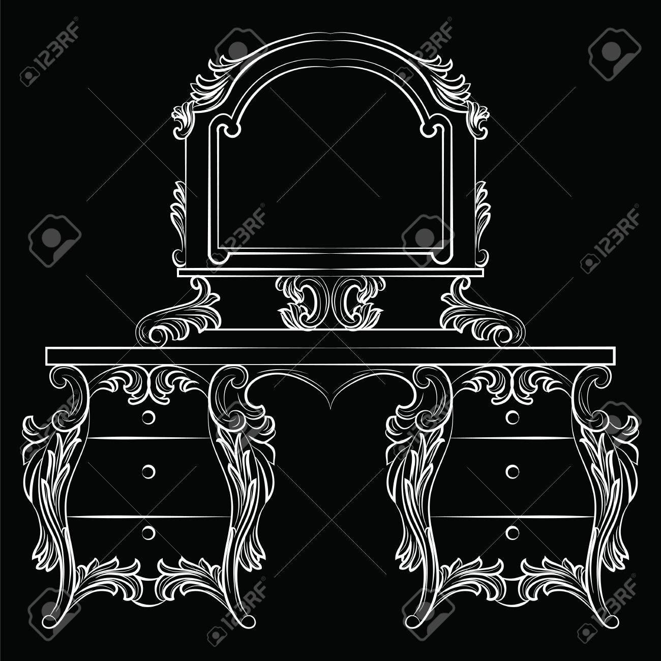 Vector Barroco Tabla Muebles De Tocador Y Marco De Espejo. Lujo ...