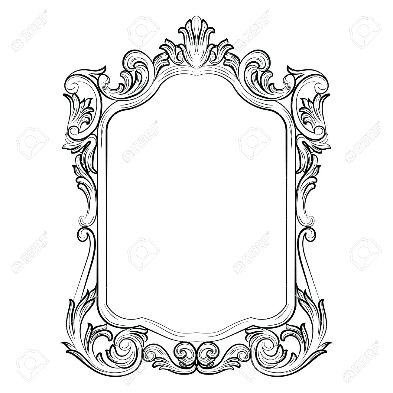 Baroque Rococo Mirror frame decor. Vector French Luxury rich carved ornaments and Wall Frames. Victorian Royal Style frame - 59940338