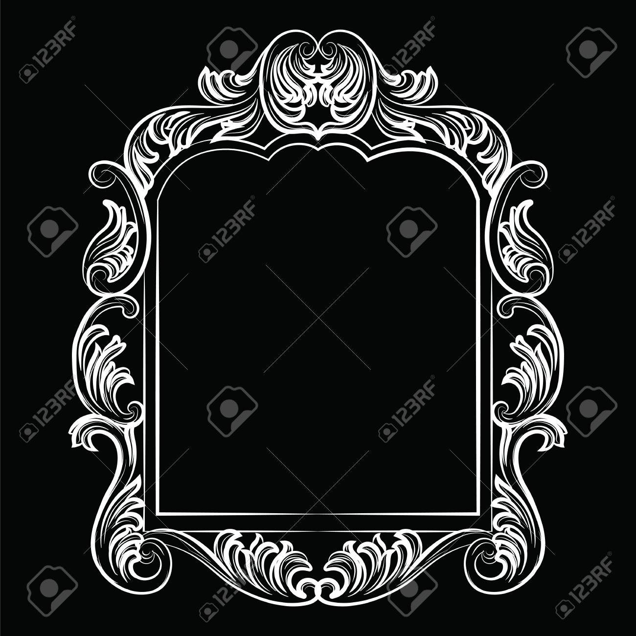 Baroque Rococo Mirror Frame Decor. Vector Luxury Rich Carved ...