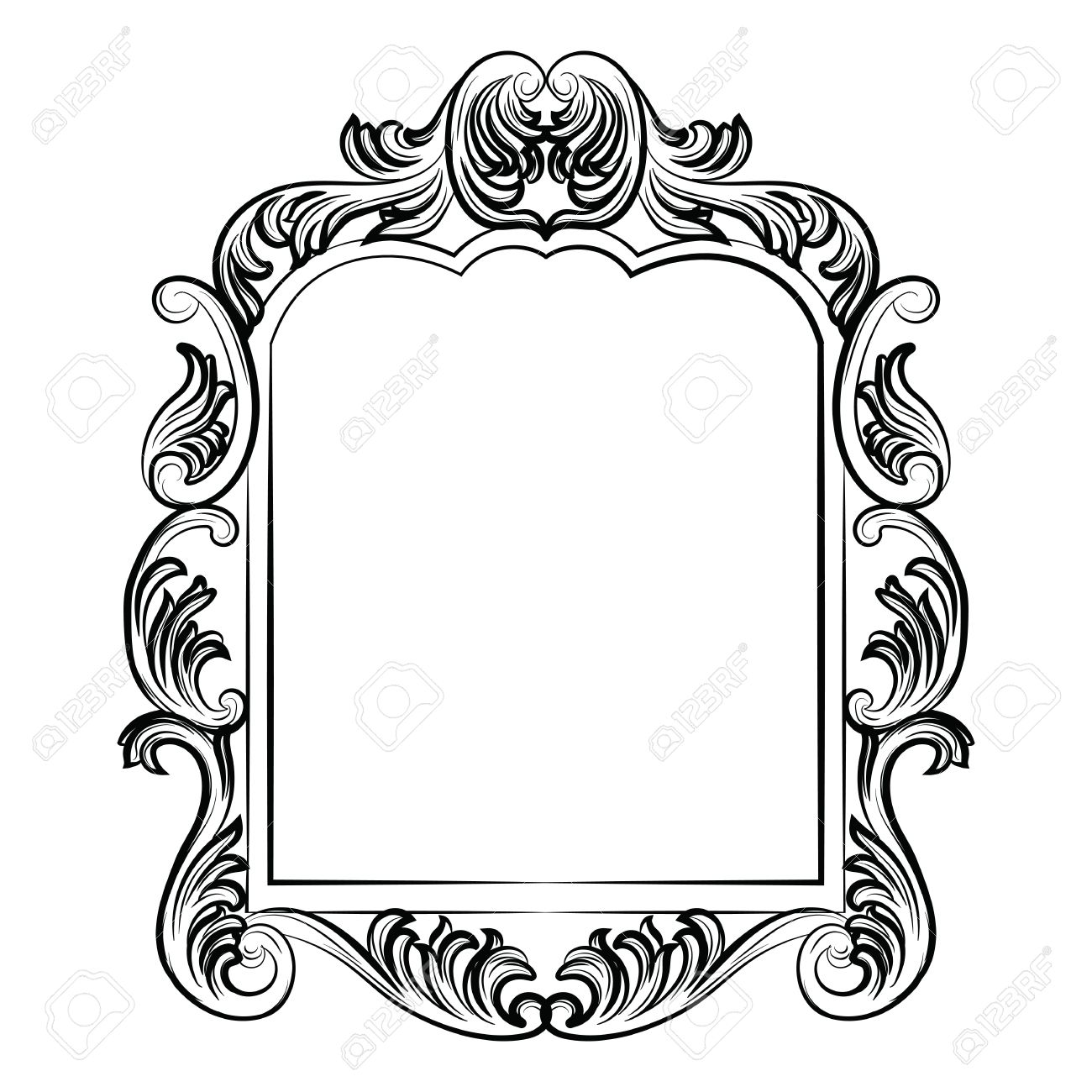 baroque rococo mirror frame decor vector luxury rich carved rh 123rf com round victorian frame vector victorian ornament frame vector free