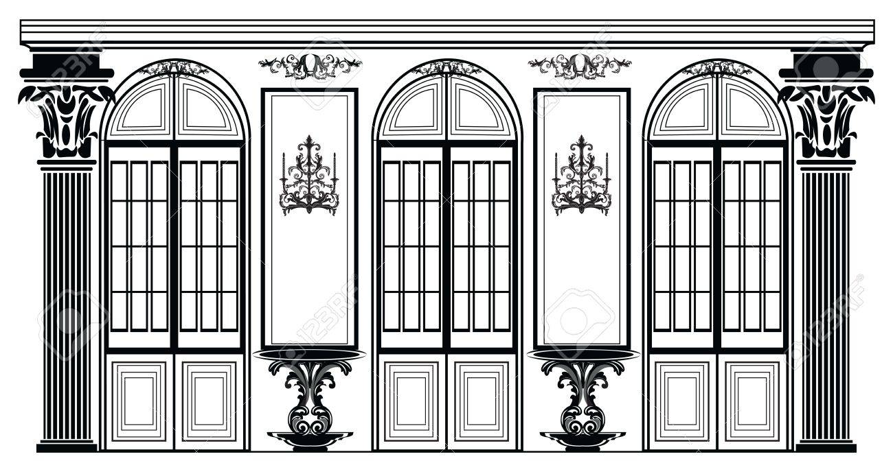 Vector architectural facade wire frame blueprint drawing of vector vector architectural facade wire frame blueprint drawing of classic luxury building vector architectural template background malvernweather Gallery