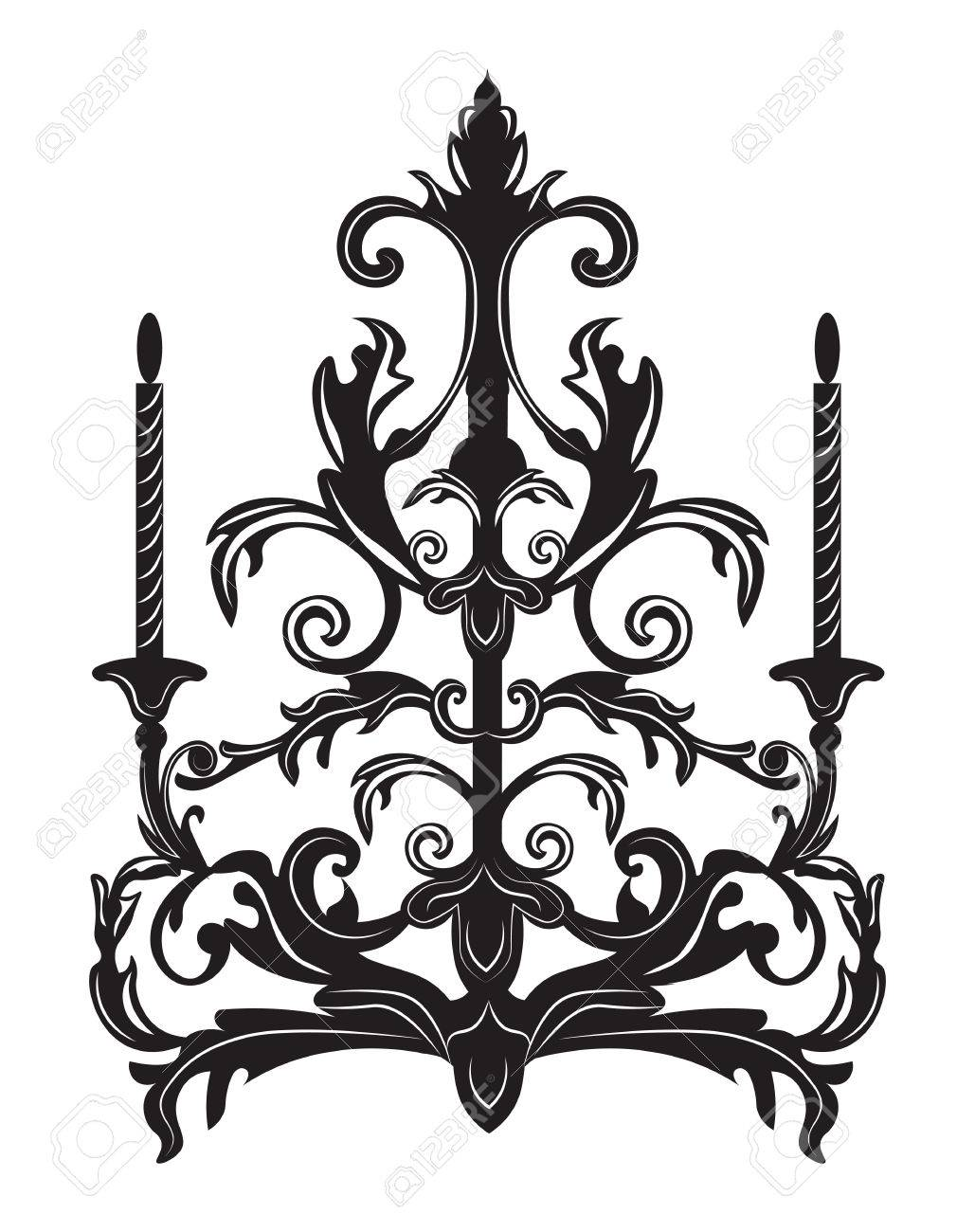 baroque elegant wall lamp with ornaments vector elegant royal rh 123rf com vector ornaments for co2 laser vector ornaments border