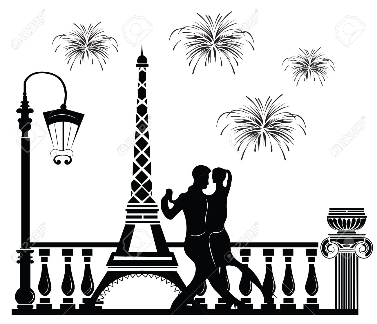 Romantic couple dancing in paris tour eiffel and fireworks on baclground vector sketch stock