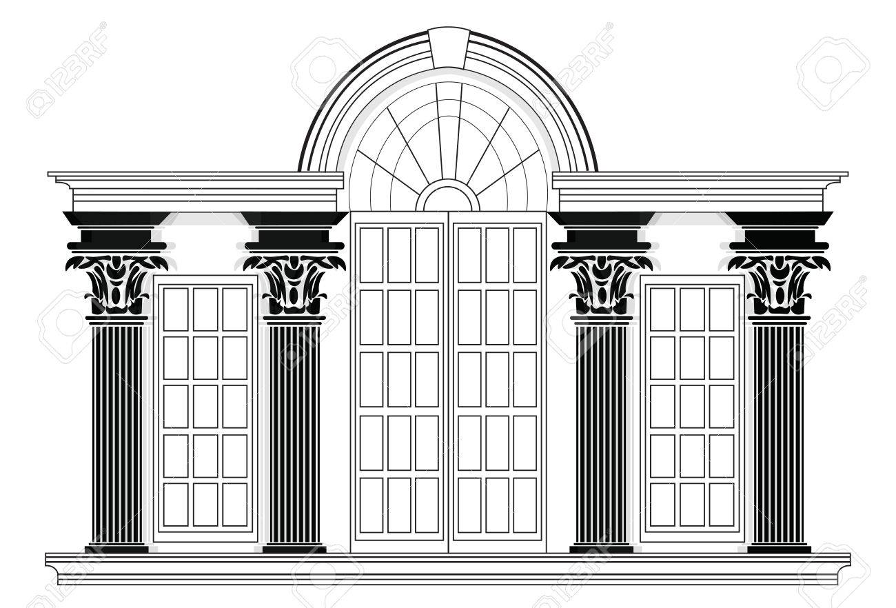 Vector architectural facade wire frame blueprint drawing of vector vector architectural facade wire frame blueprint drawing of classic building vector architectural template background malvernweather Gallery